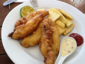 Fish and breadfruit chips... Yummo