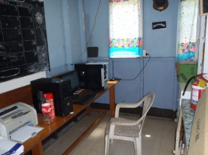 Computer alcove next to 'library'