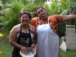 Priscilla and Bessie hair white from shredding fresh coconut!