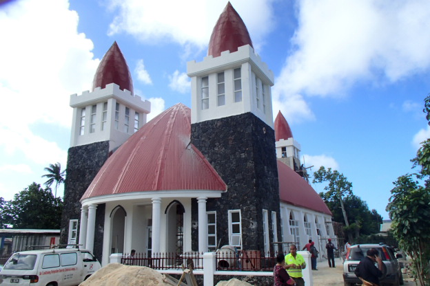 We have been watching this church being built... the concrete only just dried in time for the celebrations!