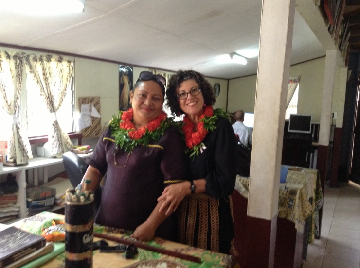 Larnie the Fashion/sewing teacher and I in our floral garlands