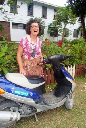 Sonia was pleased to be reunited with Bas the moped.