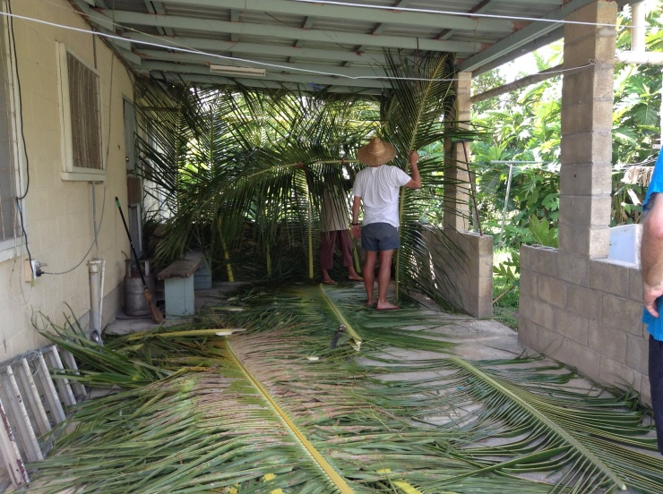 Ned helping to build our Tongan Christmas fale