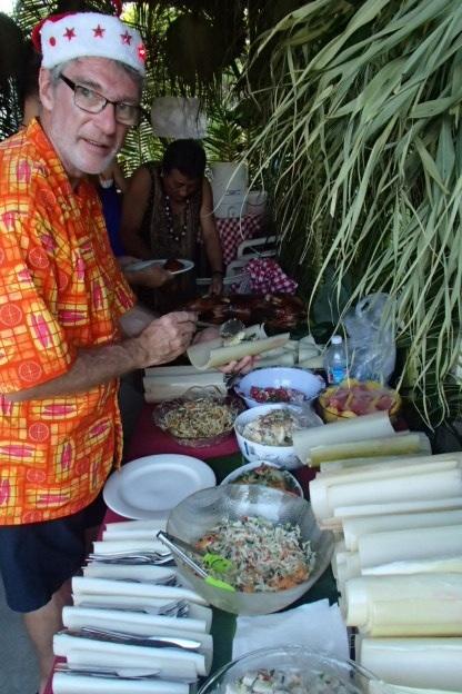 Kotoni filling his banana plate