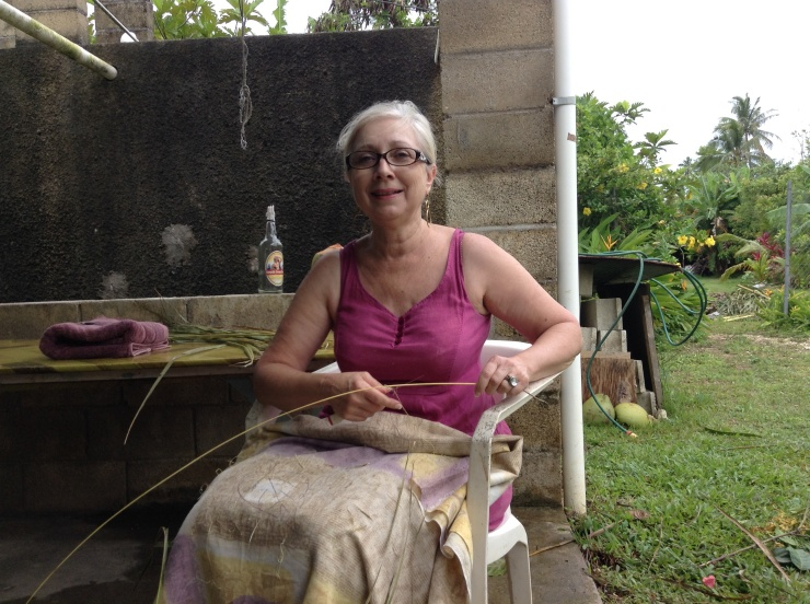 Mum with Saane the coconut broom oficionado