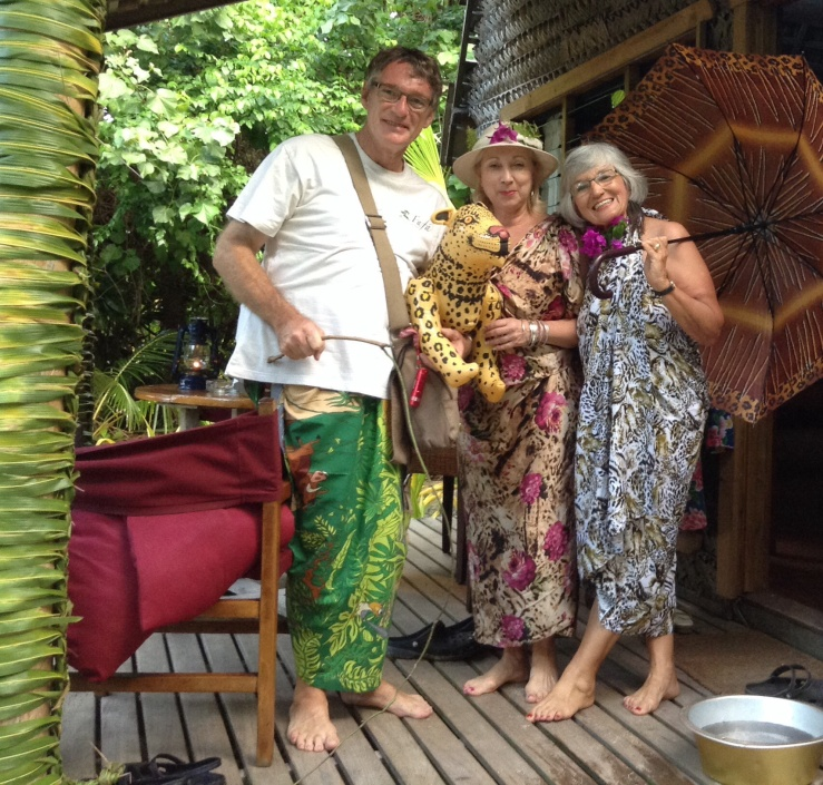 Kotoni in his jungle book curtain sarong with emily & Mum