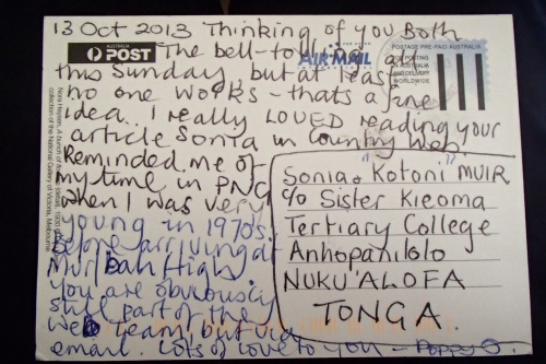 My art teacher friend Poppy sent this and it surprisingly found us!! Go Tonga Post!!!