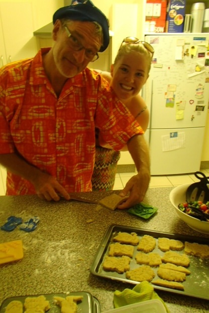 Kotoni and Amanda making Aussie shortbread in her kitchen