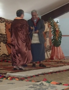 sr Annuncia being presented by the new Tongan Cardinal!